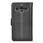 Lychee Pattern PU Case w/ Stand for Samsung Core LTE G386F - Black