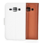 Lychee Pattern Cases w/ Stand for Samsung J1 - White + Brown (2PCS)