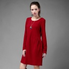 Fashion Slimming Long-Sleeve Cotton Dress - Red (Size XL)
