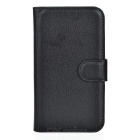 Lychee Pattern Case w/ Stand for Samsung Galaxy Xcover 3 G388F - Black