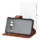 Lychee Pattern Cases for Samsung Xcover 3 G388F - White + Brown (2PCS)