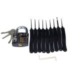 Practice Padlock + 9-Piece Lock Picks Set w/ 3 Keys - Black + Silver