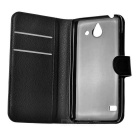 Litchi Pattern PU Case w/ Card Slots for Huawei Ascend Y550 - Black