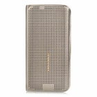 Protective PU Case for Samsung Galaxy S6 Edge - Golden Grey