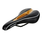 DEPRO DS-19 Integrated Hollow-out Bike Bicycle Seat Pad Cushion Saddle - Black + Gold