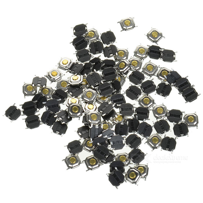 5.2 x 5.2 x 1.5mm Slightly Touch Button Tact Switches - Black (100 PCS)
