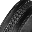 Men's Elegant Split Leather Belt w/ Y-Pattern Automatic Buckle - Black