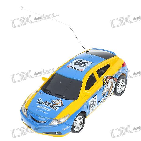 Mini R/C Racing Sport Car Set - Blue + Yellow + Black (49MHz)