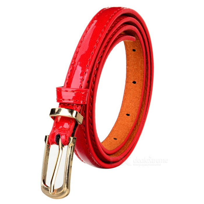 Women's Fashionable PU Belt w/ Buckle - Red