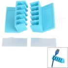 Wire Cable Clip Fixed Mount Organizer w/ Double-Sided Adhesive Tape - Blue (2 PCS)