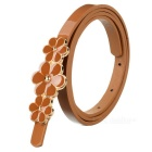 Women's 3-Flower Decorated PU Belt w/ Buckle - Brown