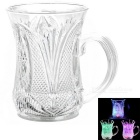Water Sensing Colorful LED Light Acrylic Gorgeous Pattern Cup - Transparent (2 x CR2025 / 200ml)