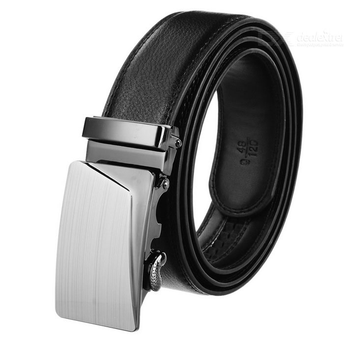 Men's Elegant Split Leather Belt w/ Fold Line Pattern Buckle - Black