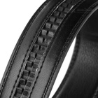 Men's Elegant Split Leather Belt w/ Cross Line Pattern Buckle - Black