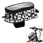 ROSWHEEL Water-Resistant Touch-Screen Phone Case Bike Top Tube Bag - Black + White (M)