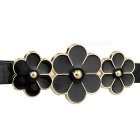 Women's Fashionable 3-Flower Decorated Thin Narrow PU Belt - Black