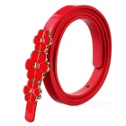 Women's Fashionable 3-Flower Decorated Thin Narrow PU Belt - Red