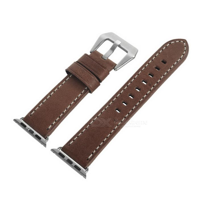 Watchband w/ Screwdriver for Apple Watch 38mm - Yellowish BrownWearable Device Accessories<br>Form ColorYellowish BrownQuantity1 DX.PCM.Model.AttributeModel.UnitMaterialItalian leatherPacking List1 x Watchband1 x Screwdriver<br>