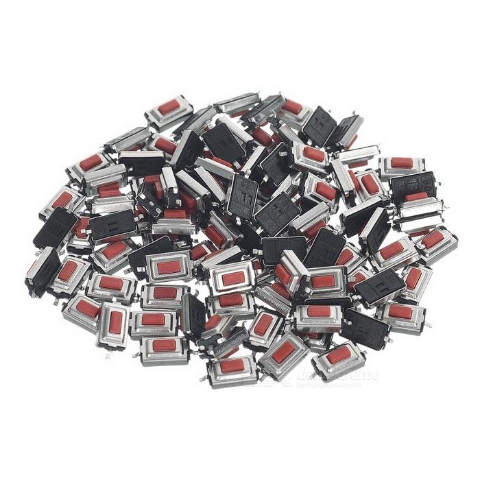 3 x 6 x 2.5mm 2Pin Slightly Touch Button Tact Switches - Red + Black (100 PCS)