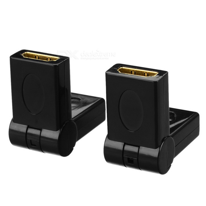 HDMI Female to Female 180 Degree Rotary Adapters - Black (2PCS)
