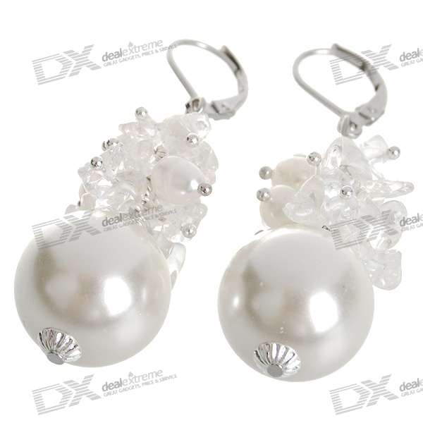 Natural 18K Plated White Pearl Earrings - White (1.7*1.7cm) диски helo he844 chrome plated r20