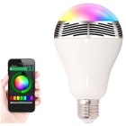 Dimmable Bluetooth Smart E27 LED Bulb w/ Music Speaker / Smartphone App (AC 100~240V) -Silver+White