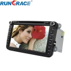 "Rungrace 8"" 2-Din TFT Screen In-Dash Car DVD Player for Volkswagen w/ GPS, RDS - Black"