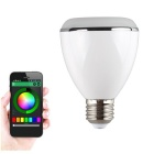 Dimmable BT inteligente E27 LED bulbo c / alto-falante de música - branco + prata