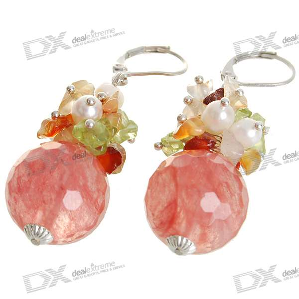 Natural 18K Plated White Gem Pearl Earrings - Orange (1.7*1.7cm) диски helo he844 chrome plated r20