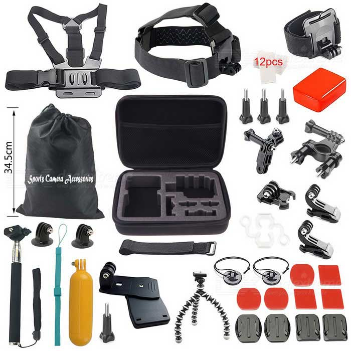 36-In-1 Sports Camera Accessories Kit for GoPro Hero1 2 3 3+ 4 - Black