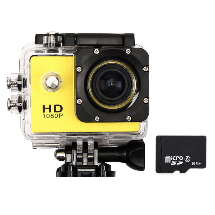 D001 Camera Helm 1080P FHD 30M waterdichte Action Sports Helmet Camera Mini DV Licht Geel
