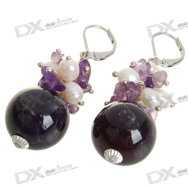 Natural 18K Plated White Amethyst Pearl Earrings - Dark Purple (1.7*1.7cm)