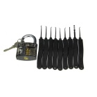 Practice Padlock + Advanced 9-Piece Lock Picks Set w/ 1 Key - Black + Silver