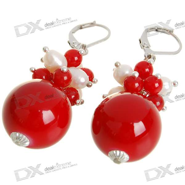 Natural 18K Plated White Gem Pearl Earrings - Red (1.7*1.7cm)