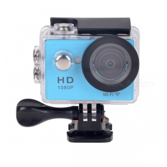 W9s 1080P Wi-Fi Waterproof 12MP Sports Camera w/ 2 LCD, HDMI - BlueSport Cameras<br>Form  ColorBlue + BlackShade Of ColorBlueMaterialABSQuantity1 pieceImage SensorCMOSImage Sensor Size2/3 inchesAnti-ShakeYesFocal DistanceNo cmFocusing Range12cm~InfiniteOptical ZoomNoDigital ZoomOthersBuilt-in SpeedliteNoSpeedlite RangeNoApertureNoAperture RangeNoWide Angle140°A+HDwide-anglelensEffective Pixels12.0 MPImagesJPEGStill Image Resolution4608 x 2592 (12M) / 3760 x 2120 (8M) / 2976 x 1672 (5M) / 1920 x 1080 (2M)VideoMOVVideo Resolution1080P 30fps; 720 30fps, 4K 10fpsVideo Frame Rate30,60Audio SystemStereoCycle RecordYesISONoExposure Compensation-2;-1.7;-1.3;-1;-0.7;-0.3;0;+0.3;+0.7;+1;+1.3;+1.7;+2.0Scene ModeAutoWhite Balance ModeAutoSupports Card TypeTFSupports Max. Capacity32 GBBuilt-in Memory / RAMNoOutput InterfaceMicro USB,Micro HDMILCD ScreenYesScreen TypeOthers,LCDScreen Size2 inchesBattery Measured Capacity 900 mAhNominal Capacity900 mAhBattery TypeLi-ion batteryBattery included or notYesBattery Quantity1 pieceVoltage3.7 VBattery Charging Timeabout 3 hoursLow Battery AlertsYesWater ResistantWater Resistant 3 ATM or 30 m. Suitable for everyday use. Splash/rain resistant. Not suitable for showering, bathing, swimming, snorkelling, water related work and fishing.Supported LanguagesEnglish,Traditional Chinese,Russian,Portuguese,Spanish,Italian,Korean,French,German,Others,JapaneseCertificationCEPacking List1 x Wi-Fi Sports camera1 x Li-ion Battery (3.7V, 900mAh)1 x Waterproof housing1 x Helmet base1 x Handle bar/ pole mount1 x Mount A1 x Mount B1 x Mount C1 x Mount D1 x USB Cable (60cm)3 x Cable ties1 x Wire1 x English user manual<br>