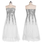 Fashionable Sexy Strapless Sequined Long Blending Wedding Dress - Silver + White (Size L)