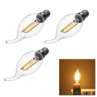 E14 2W COB LED Filament Candle Tail Bulb Lamp Warm White Light 3000K 180lm (AC 220V / 3pcs)