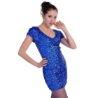 BAITUYA XB08-L Women's Sexy Sheath Short Mini Sequins Prom Gown Dress - Royal Blue (L)