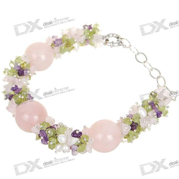 Natural 18K Plated White Gem Pearl Bracelet - Pink (1.9*1.9cm) - DXBracelets<br>Delicately made jewelry - Bracelet can be adjusted to fit wrists of different size - Perfect as a gift for women friends<br>