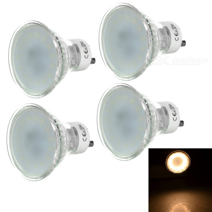 GU10 3W LED Lights Warm White 3200K 15-SMD - White + Silver (4PCS)