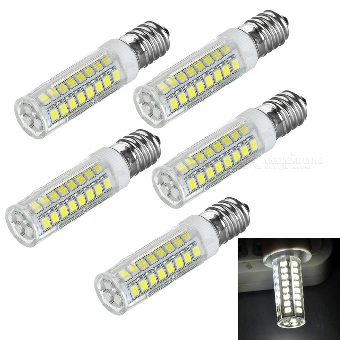 E14 7W 450lm 51-SMD 2835 lâmpadas brancas frescas do bulbo do milho do diodo emissor de luz (220V / 5PCS)