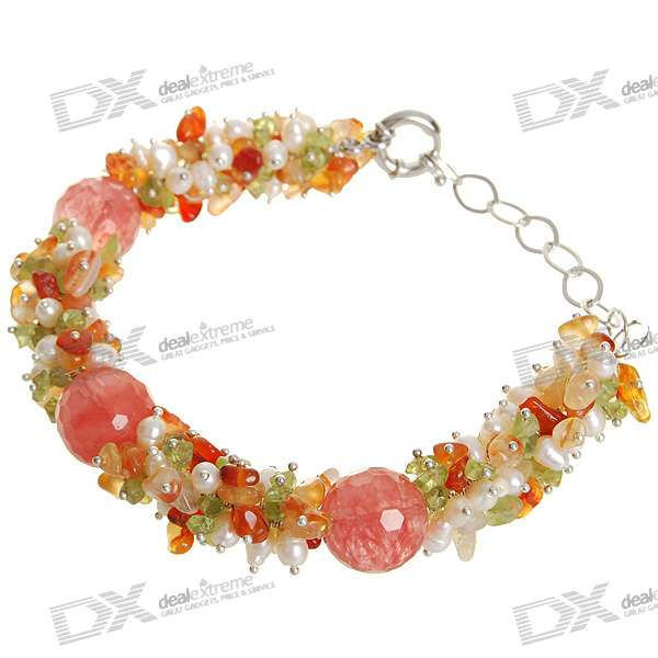 Natural 18K Plated White Gem Pearl Bracelet - Salmon Pink (1.7*1.7cm) диски helo he844 chrome plated r20