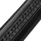 Cow Split Leather Waist Belt w/ Grid Pattern Automatic Buckle - Black