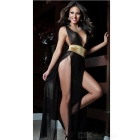 Sexy Girdling Leg-Baring Dress + T-back - Black + Gold