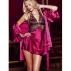Women's Sexy Chiffon Bathrobe + Lace Halter V Neck Babydoll Nightdress Lingerie Set - Purplish Red