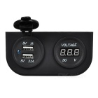 DIY 2.1A + 1A Dual USB Power Charger & Voltmeter for Car / Boat / Motorcycle - Black