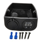 DIY 2.1A+1A Dual USB Power Charger & Voltmeter for Car + More - Black