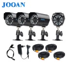 "JOOAN 800TVL 1/4"" CMOS Waterproof CCTV Security Cameras w/ 24-IR-LED - Black (EU Plug)"