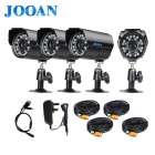 "JOOAN 800TVL 1/4"" CMOS Waterproof CCTV Security Cameras w/ 24-IR-LED - Black (PAL / UK Plug)"