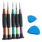 Universal Versatile 7-In-1 Screwdriver Opening Tools Kit Set for Phones - Black + Multicolor